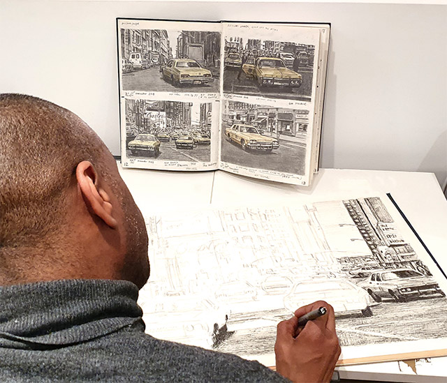 Making of NYC yellow cabs at Times square - original drawing