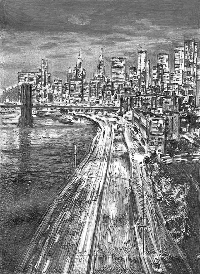 New York City freeway at night
