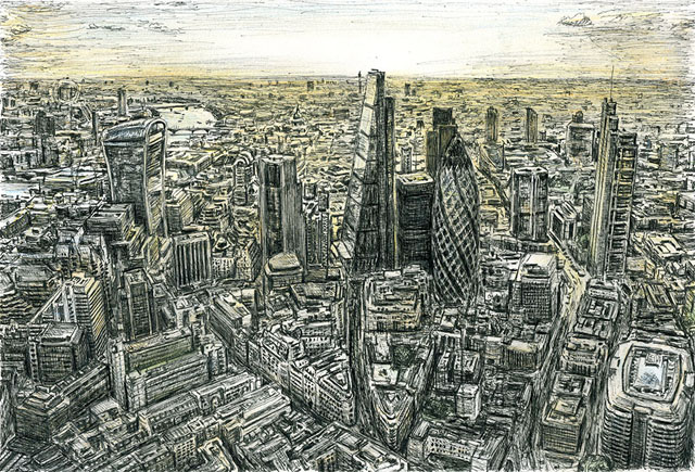 Aerial view of City of London by Stephen Wiltshire