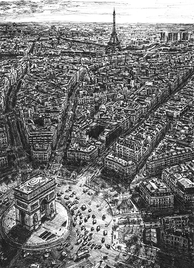 Aerial view of the Eiffel Tower and Arc de Triomphe, Paris by Stephen Wiltshire