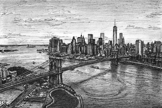 Aerial view of Manhattan Skyline