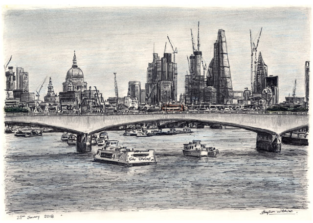 St Pauls and London skyline from Waterloo bridge