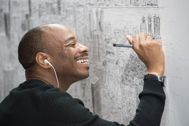 Stephen Wiltshire merchandise in the Empire State Building, NY