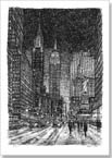 Imaginary drawing of New York in winter - Originals for sale