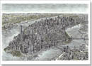 Aerial view of Manhattan Skyline 2011 - Originals for sale