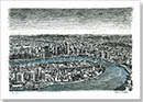 Aerial view of Brisbane - Drawings - Originals for sale