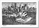 Sydney Opera House and skyline - Drawings - Prints for sale