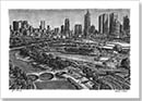 Aerial view of Melbourne - Drawings - Originals for sale