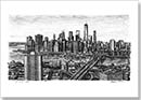 Birds eye view of the Freedom Tower and Brooklyn Bridge - Originals for sale