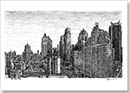 Manhattan skyline from the Intercontinental Hotel - Drawings - Originals for sale