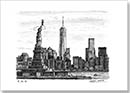 Statue of Liberty & the view of Freedom Tower - Drawings - Originals for sale