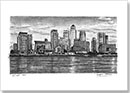 Canary Wharf & River Thames - Drawings - Originals for sale