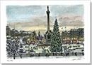 Trafalgar Square on a Christmas evening - Drawings - Originals for sale