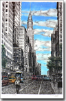 Chrysler Building with street scene in New York - Originals for sale