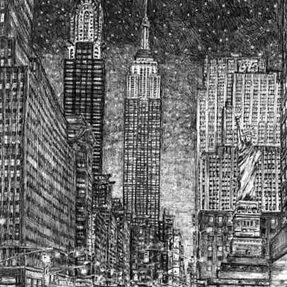 Drawing of Imaginary drawing of New York in winter