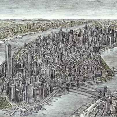Aerial view of Manhattan Skyline 2011 (A1 print)3 - Prints for sale