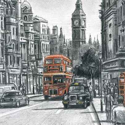 Whitehall in summer (Limited Edition of 75) - Drawings