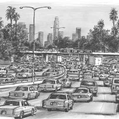 Los Angeles traffic on a freeway - Drawings - Originals, prints and limited editions