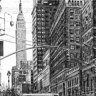 Street scene of 34th street New York - Original drawings and Architectural Art