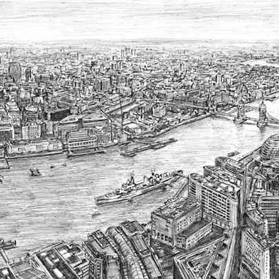 The View from the Shard - Drawings - Originals, prints and limited editions