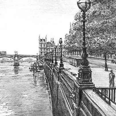 View of Westminster Bridge in summer - Drawings - Originals, prints and limited editions