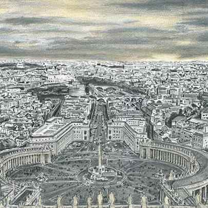 Vatican City (Rome) - Drawings - Original drawings and Architectural Art