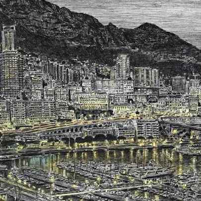 Monte Carlo in the evening - Drawings - Original drawings and Architectural Art