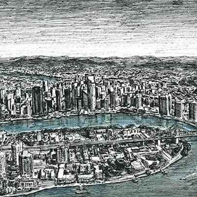 Aerial view of Brisbane - Drawings - Original drawings and Architectural Art