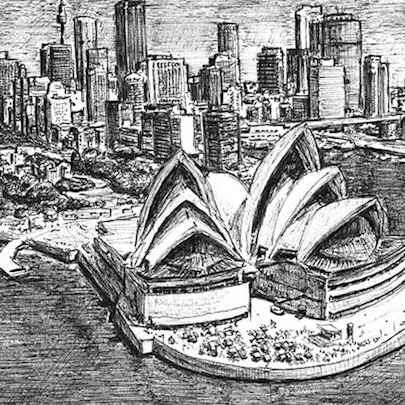 Sydney Opera House and skyline - Drawings - Original drawings and Architectural Art