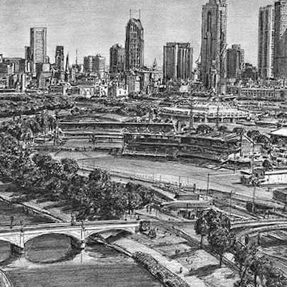 Aerial view of Melbourne - Drawings - Original drawings and Architectural Art