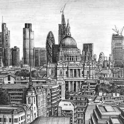 Drawing of St Pauls Cathedral and the City of London skyline