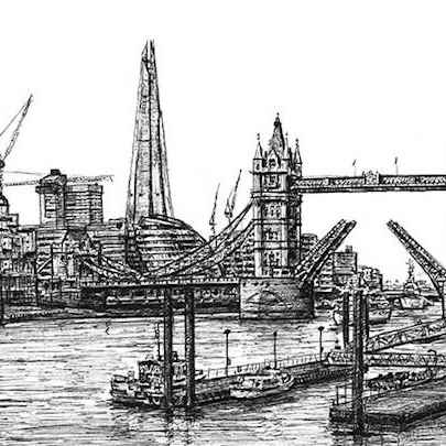 View of the Shard and Tower Bridge - Drawings - Original drawings and Architectural Art