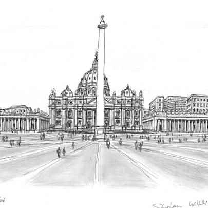St Peters, Rome - Drawings - Originals, prints and limited editions