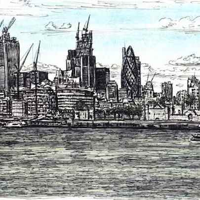 View of City of London from Tower Bridge - Drawings - Original drawings and Architectural Art