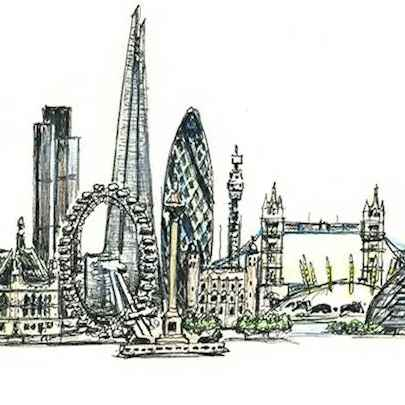 London montage - Drawings - Original drawings and Architectural Art