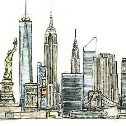 Drawing of New York montage