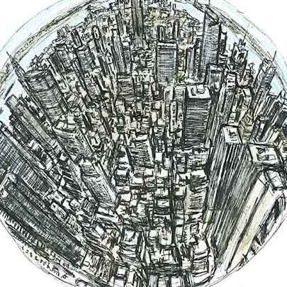 Drawing of Mini Globe of New York