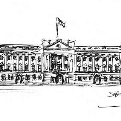 Buckingham Palace sketch - Drawings - Originals, prints and limited editions