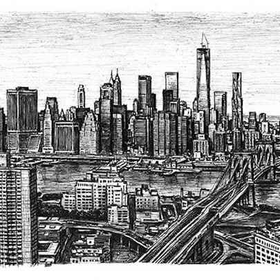 Drawing of Birds eye view of the Freedom Tower and Brooklyn Bridge
