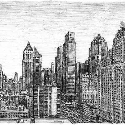Manhattan skyline from the Intercontinental Hotel - Drawings - Originals, prints and limited editions