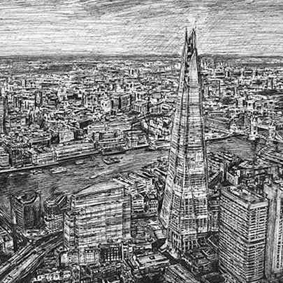 Aerial view of the Shard in the evening - Original drawings