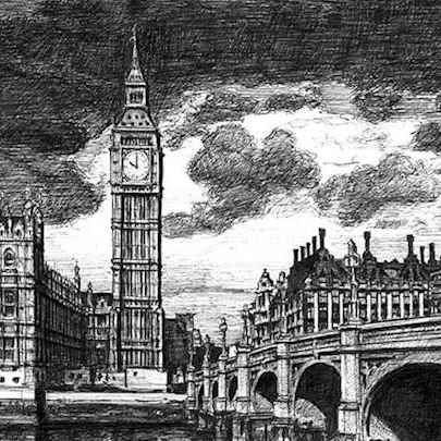 Big Ben and Westminster Bridge London - Original drawings