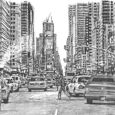New York City, rush hour - Drawings - Originals, prints and limited editions
