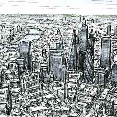 Aerial view of City of London skyscrapers of the future - Original drawings