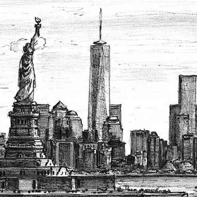 Statue of Liberty & the view of Freedom Tower - Original drawings