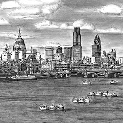 St Pauls Cathedral and London skyline with River Thames - Original drawings