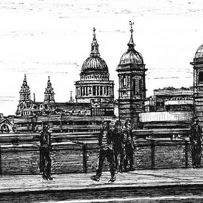 View of St Pauls Cathedral from London Bridge - Original drawings