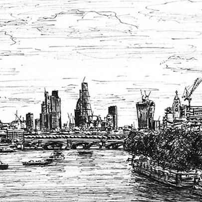 St Pauls Cathedral & London skyline from Waterloo Bridge - Original drawings