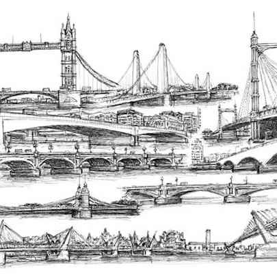Montage of bridges in London - Drawings - Originals, prints and limited editions