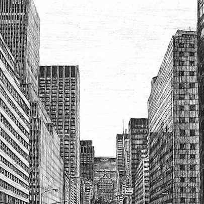 New York street scene on Park Avenue - Original drawings